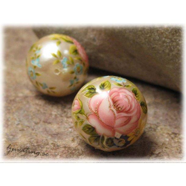 Rund pärlemorskimmer med rosa ros ca 16 mm