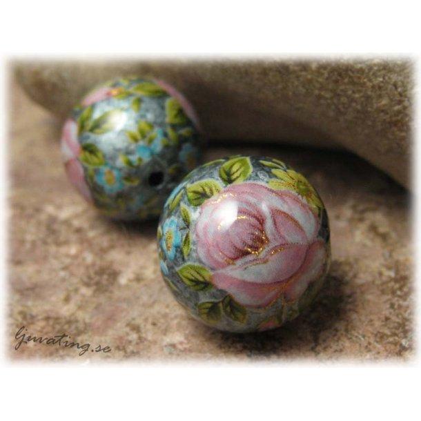 Rund Tensha pärla silver med rosor ca 16 mm