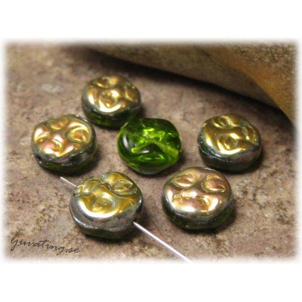 Grön glaspärla sol med AB-lyster 8-pack ca 9,5 mm
