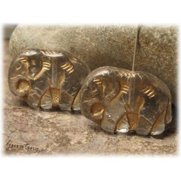 Clear stor elefant med guldinlägg ca 23x16 mm