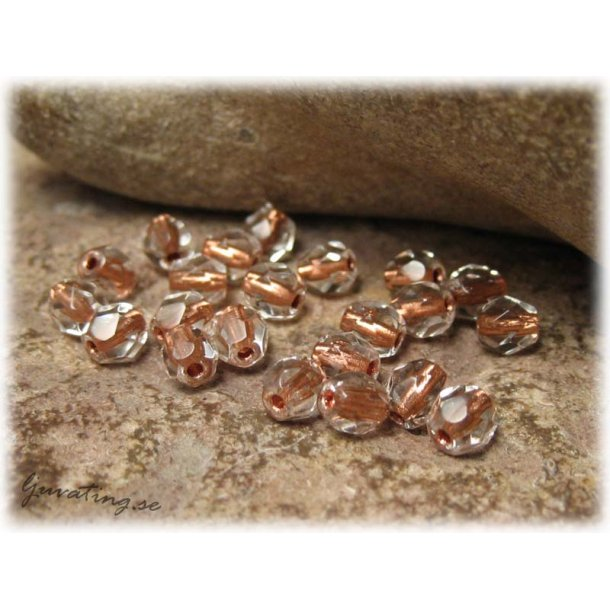 Crystal copperlined facetterad 25-pack ca 4 mm