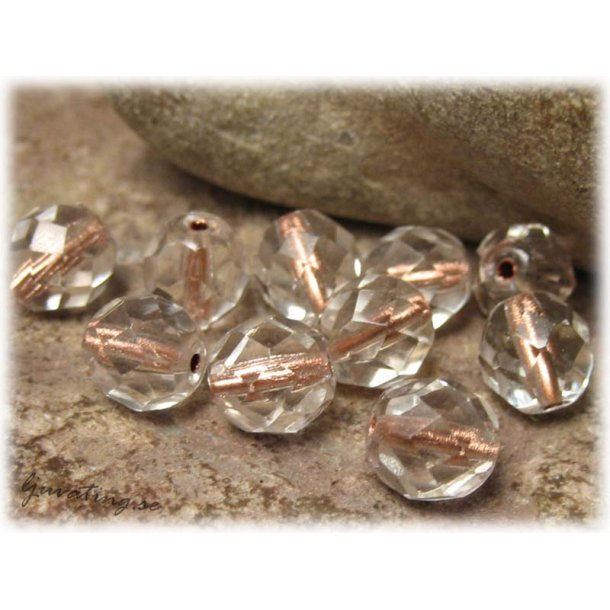 Crystal copperlined facetterad 10-pack ca 8 mm