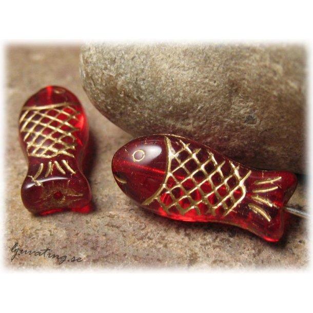 Röd fisk med gulddekor ca 20x9 mm