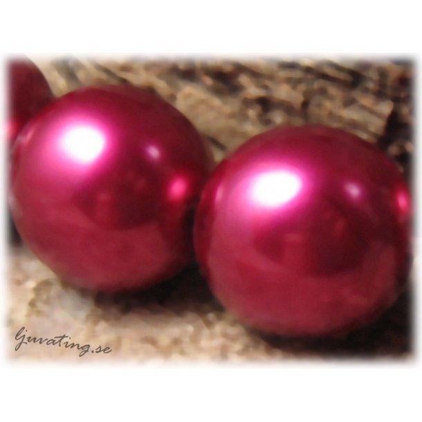 Rund vaxad cerise Jablonex glaspärla ca 16 mm