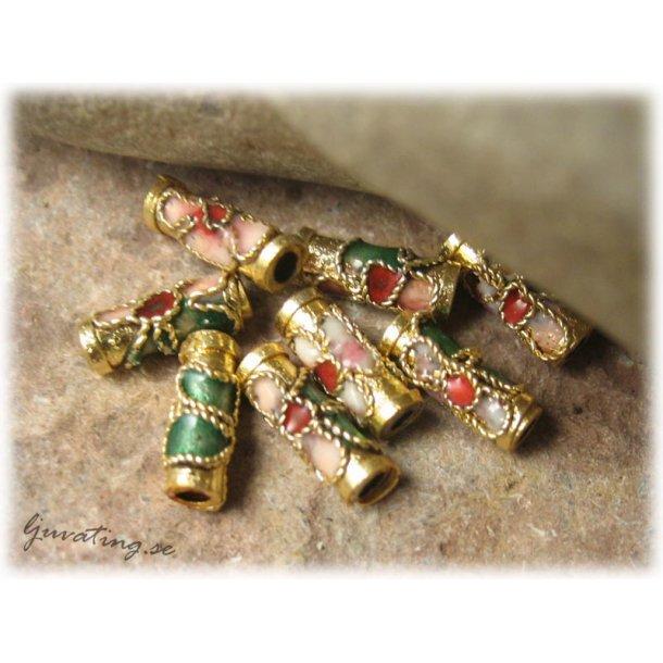 Cloisonne pärla guldigt rör ca 10x3 mm