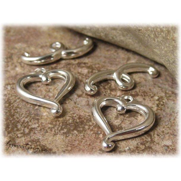 Toggle lås hjärta silverpläterat ca 17x14 mm