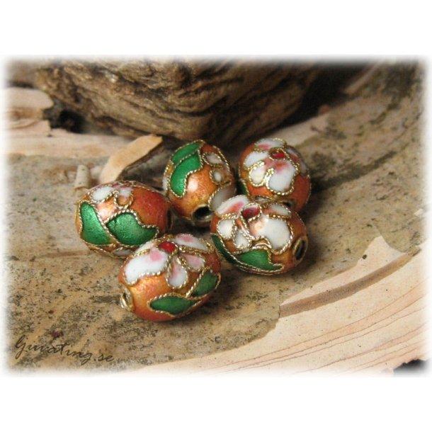 Cloisonne pärla rostbrun oval ca 11x9 mm