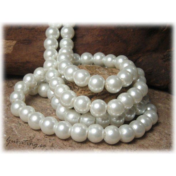 Pärlor i glas rund vit 1 hel sträng ca 8 mm