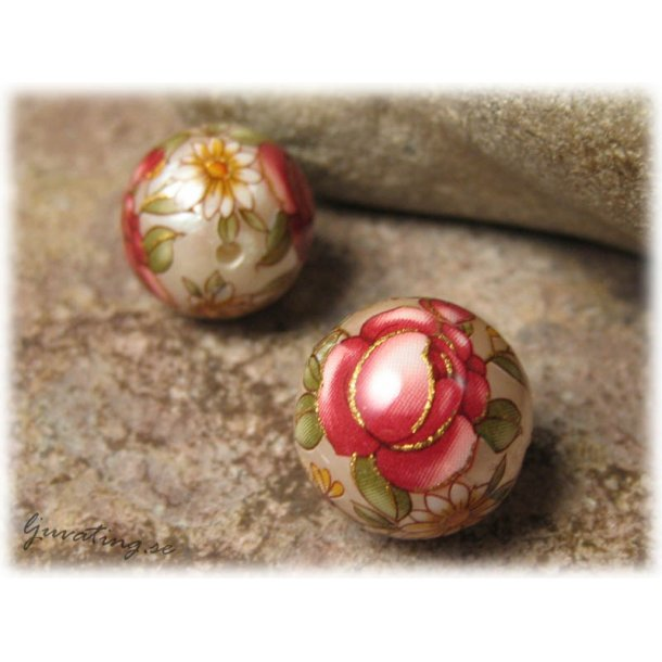 Rund Tensha pärlemorsilver med röd ros ca 14 mm