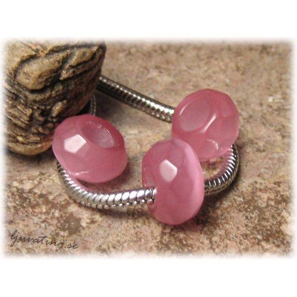 Ormlänkspärla facetterad rosa cat eye ca 13x8 mm