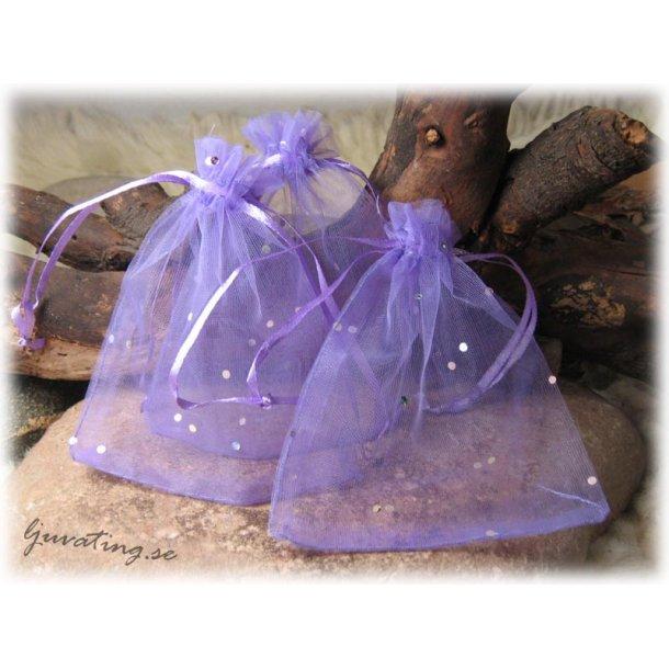 Smyckepåse lila med glittriga paljetter ca 12x10cm