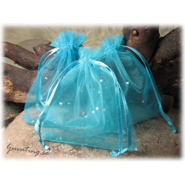 Smyckepåse blå med glittriga paljetter ca 12x10cm