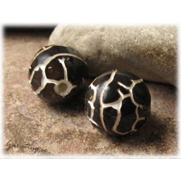 Rund pärla i keramik mörkbrun ca 19 mm