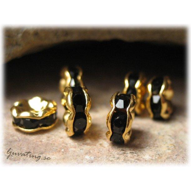 Guldig rondell med svart Rhinestone ca 6 mm
