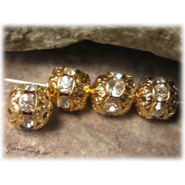 Guldig pärla med clear Rhinestone ca 8 mm