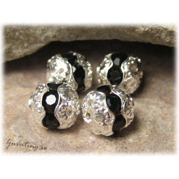 Silvrig pärla med svart Rhinestone ca 8 mm