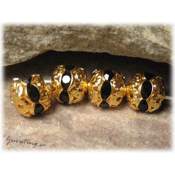 Guldig pärla med svart Rhinestone ca 8 mm