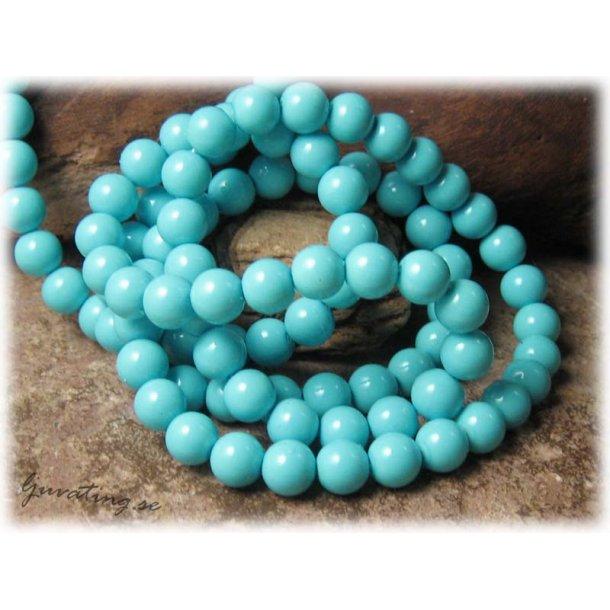 Pärlor i glas rund ljusblå 20-pack ca 8 mm
