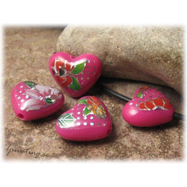 Pärla i syntet hjärta cerise med mönster