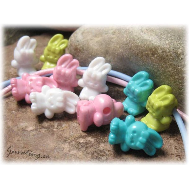 Acrylpärla kaniner i mixade färger 10-pack