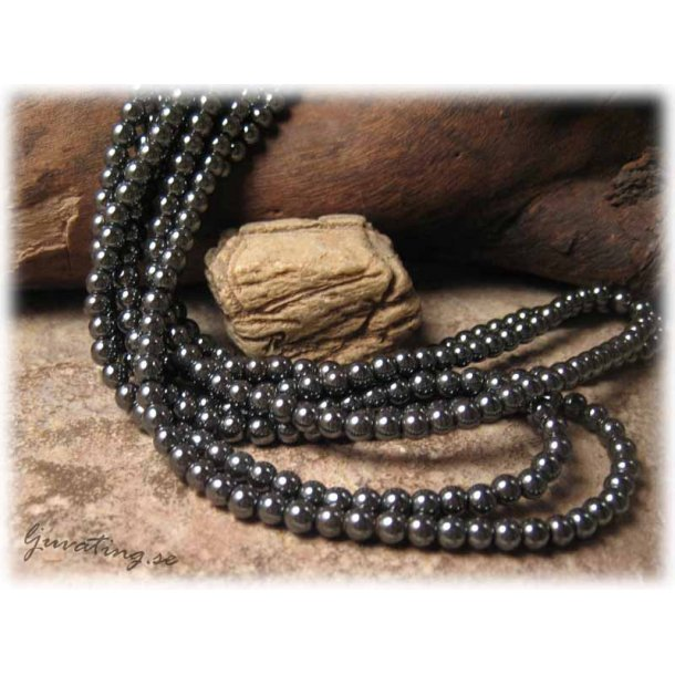 Hematit små runda pärlor 30-pack ca 4 mm