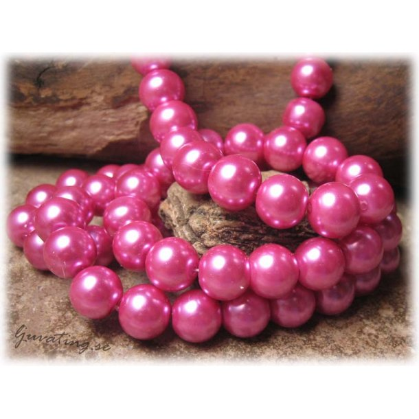 Pärlor i glas rund rosa 20-pack ca 10 mm