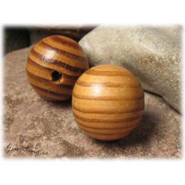 Rund stor träpärla i bruna nyanser ca 30 mm