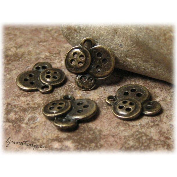 Berlock knappar i metall bronsfärgad ca 14x14 mm