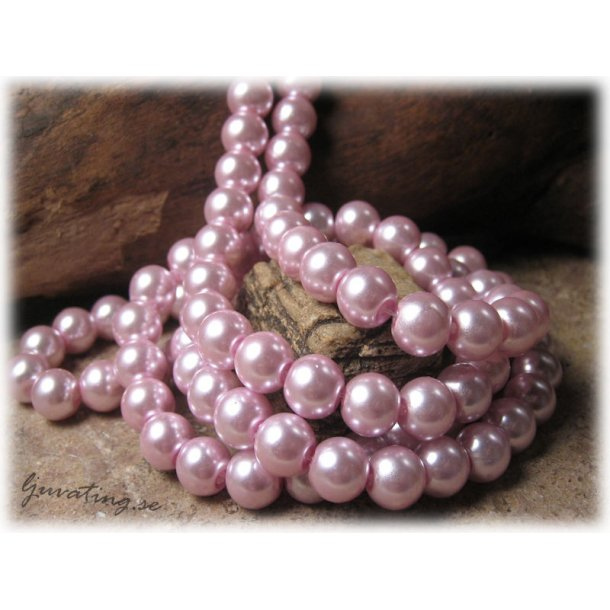 Pärlor rund rosa lackad 20-pack ca 8 mm