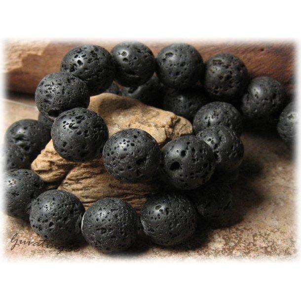 Lavasten svart rund 10-pack ca 12 mm