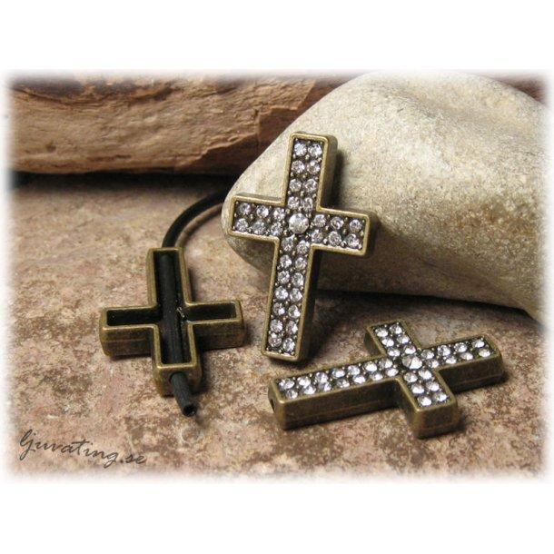 Slider bronsfärgat kors med dubbla rader strass
