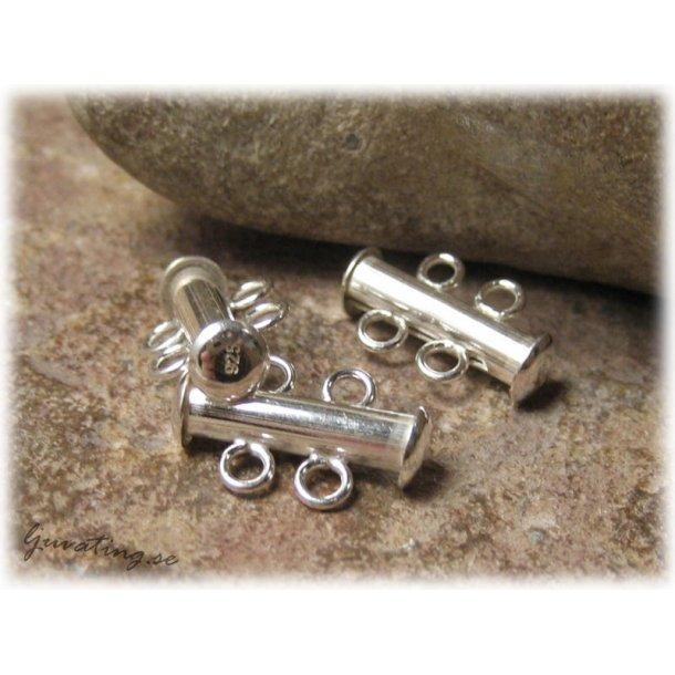 2-radigt runt tublås i Sterling 925 ca 16x10 mm
