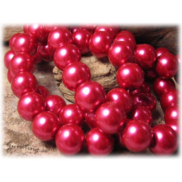 Pärlor i glas rund röd 10-pack ca 12 mm