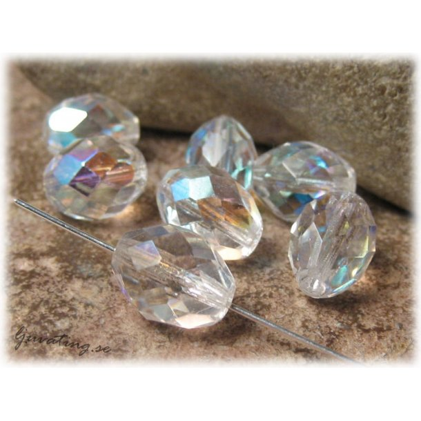 Firepolished oval crystal AB 10-pack ca 13x10 mm