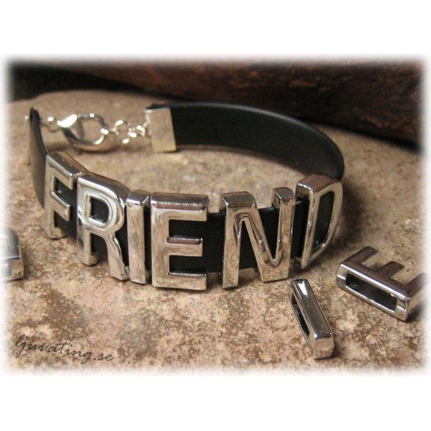 Sliders med ordet FRIEND i metall hål ca 10x2 mm