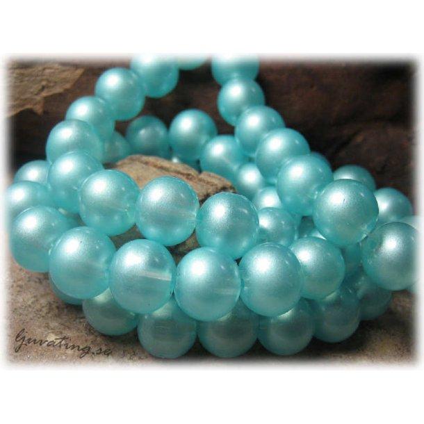 Glaspärlor ljusblå transparent 10-pack ca 12 mm