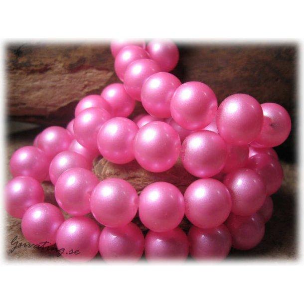 Pärlor i glas rund rosa 10-pack ca 12 mm