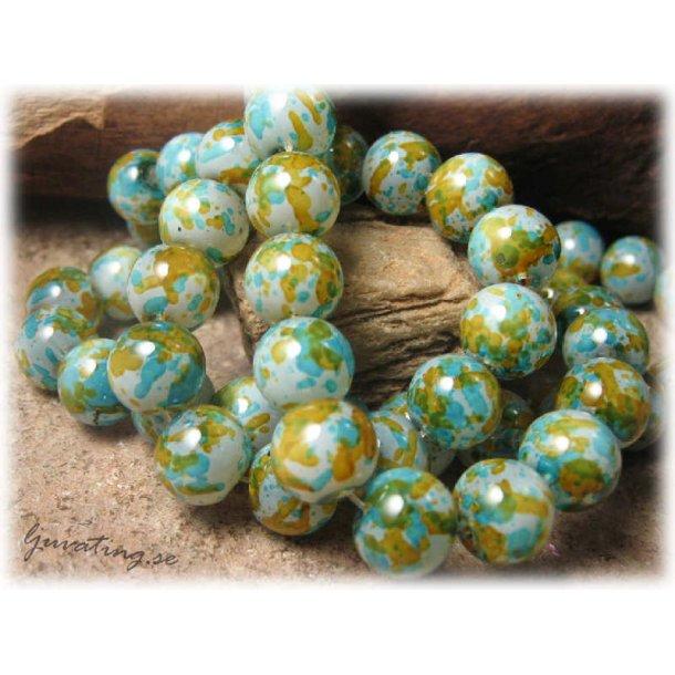 Pärlor glas rund grön/blå melerad 20-pack ca 10 mm