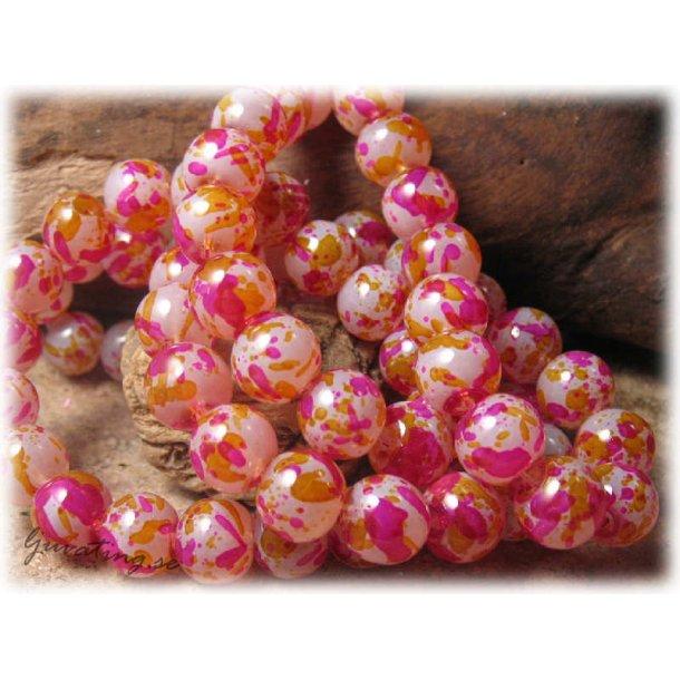 Pärlor glas orange/röd melerad 20-pack ca 10 mm