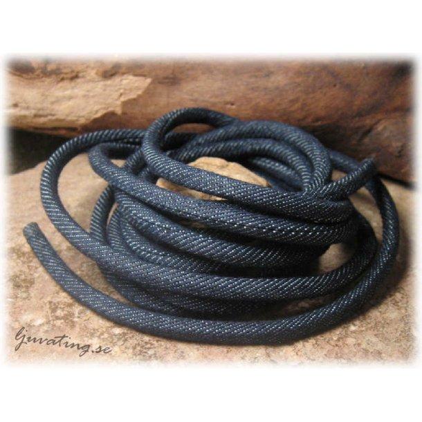 Vävt textilband runt jeansblå tjocklek ca 4 mm