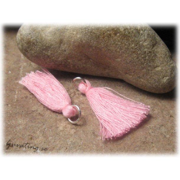 Liten rosa tofs tassel med ring syntetgarn ca 32mm