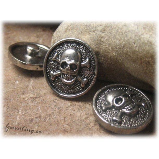 Chunk knapp i metall döskalle antikfinish ca 20 mm