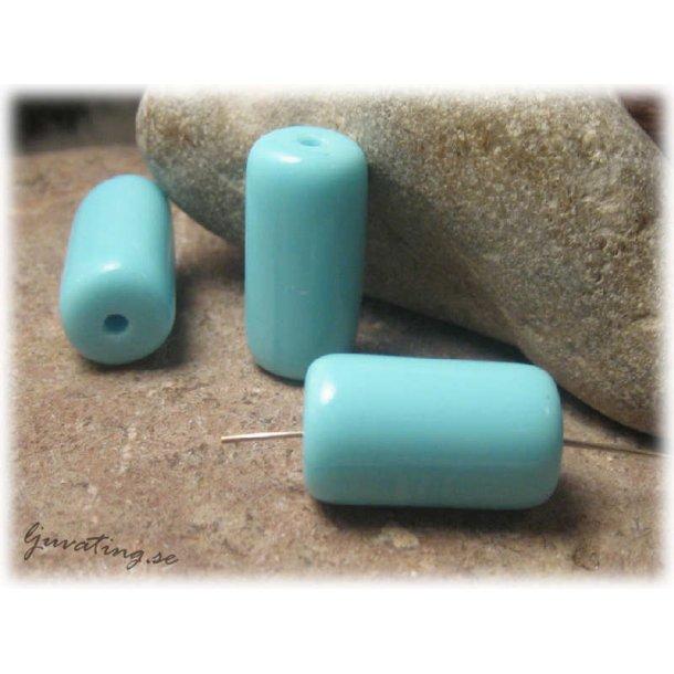 Cylinder tub ljusblå glaspärla ca 23x12 mm