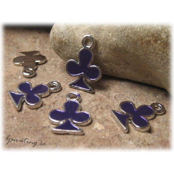 Berlock i metall lila klöver ca 19x15 mm