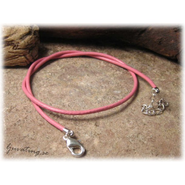 Barnstorlek lite kortare läderband rosa halsband