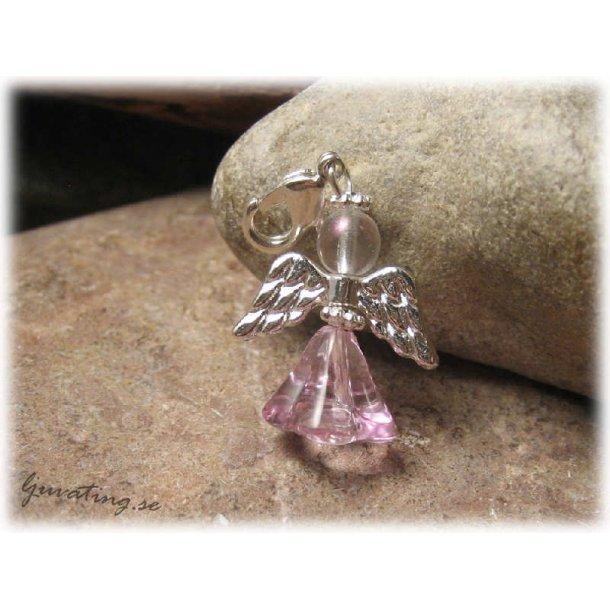 Berlock rosa ängel med klolås ca 36 mm