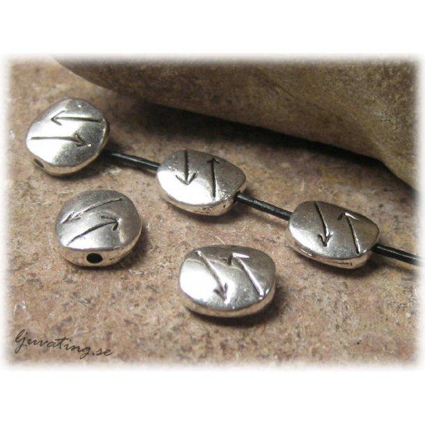 Metallpärla platt oval med pilar 5-pack 11x10 mm