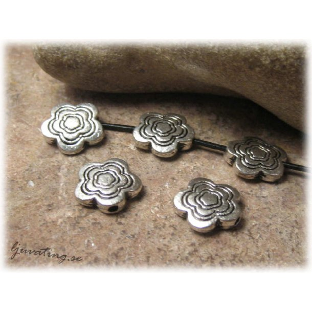 Metallpärla platt blomma 5-pack 12 mm i diameter