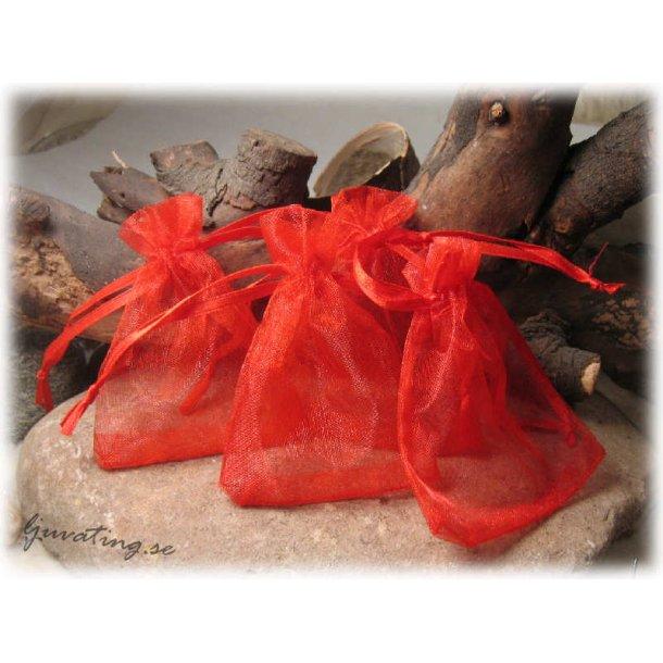 Smyckepåse röd enfärgad modell mindre ca 9x7 cm