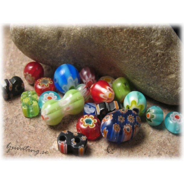 Mix färgglada Millefiori pärlor 20 stycken